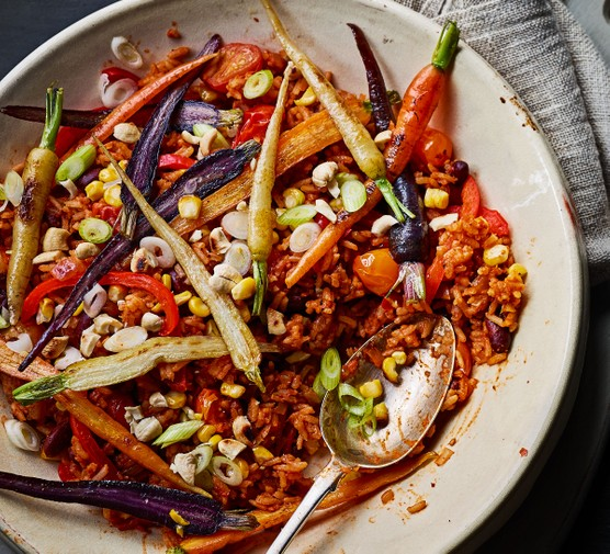 Bowl of smoked veggie rice with carrots