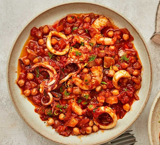 One serving of squid, prawn & chickpea nduja stew