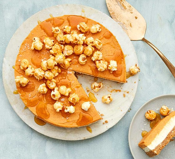 Sweet potato cheesecake with the first slice cut out