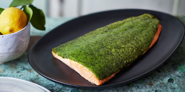 Whole side of salmon with a wild garlic crust