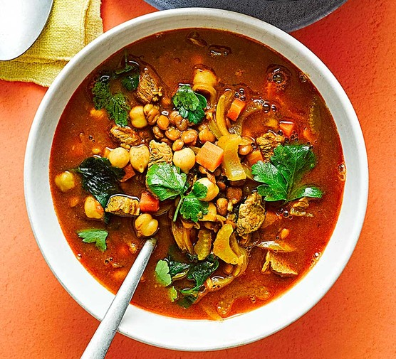 Lamb & chickpea soup served in a bowl