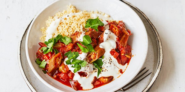 Okra with tomato sauce & couscous