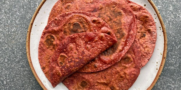 A pile of beetroot chapatti