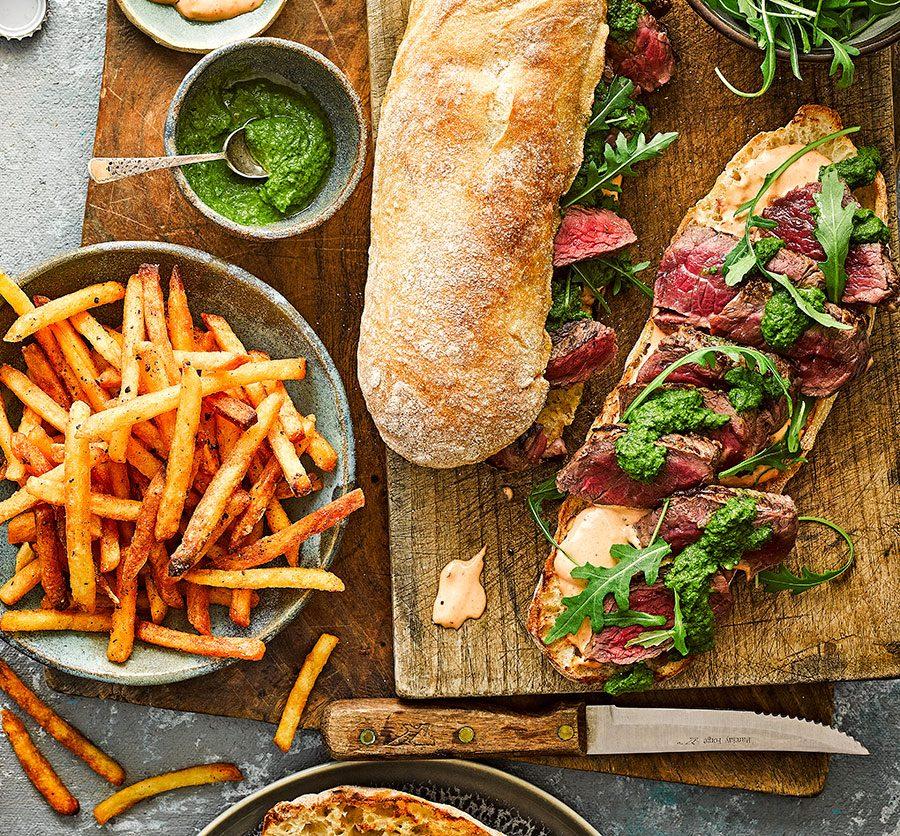 Chimichurri-style steak sarnies & cheat's spicy fries