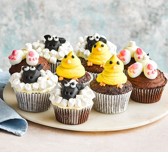A collection of chocolate spring cupcakes