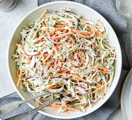 Classic homemade slaw in a bowl
