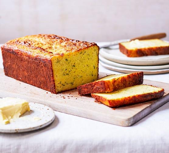 Courgette & cheddar cornbread on a chopping board