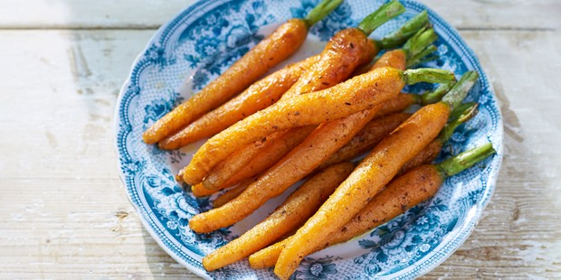 Plate of cumin-basted carrots
