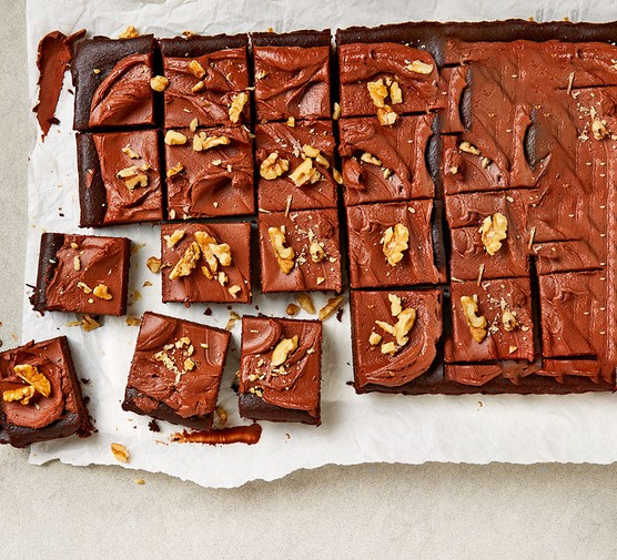 Double chocolate squares cut into squares