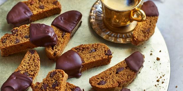 Espresso and dark chocolate biscotti on plate