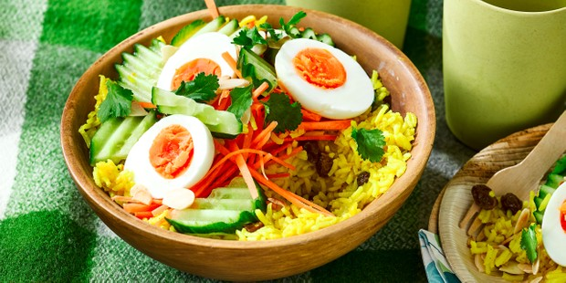 Bowl of egg, rice and vegetable salad