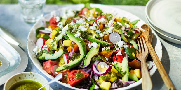 Mixed summer salad on a plate