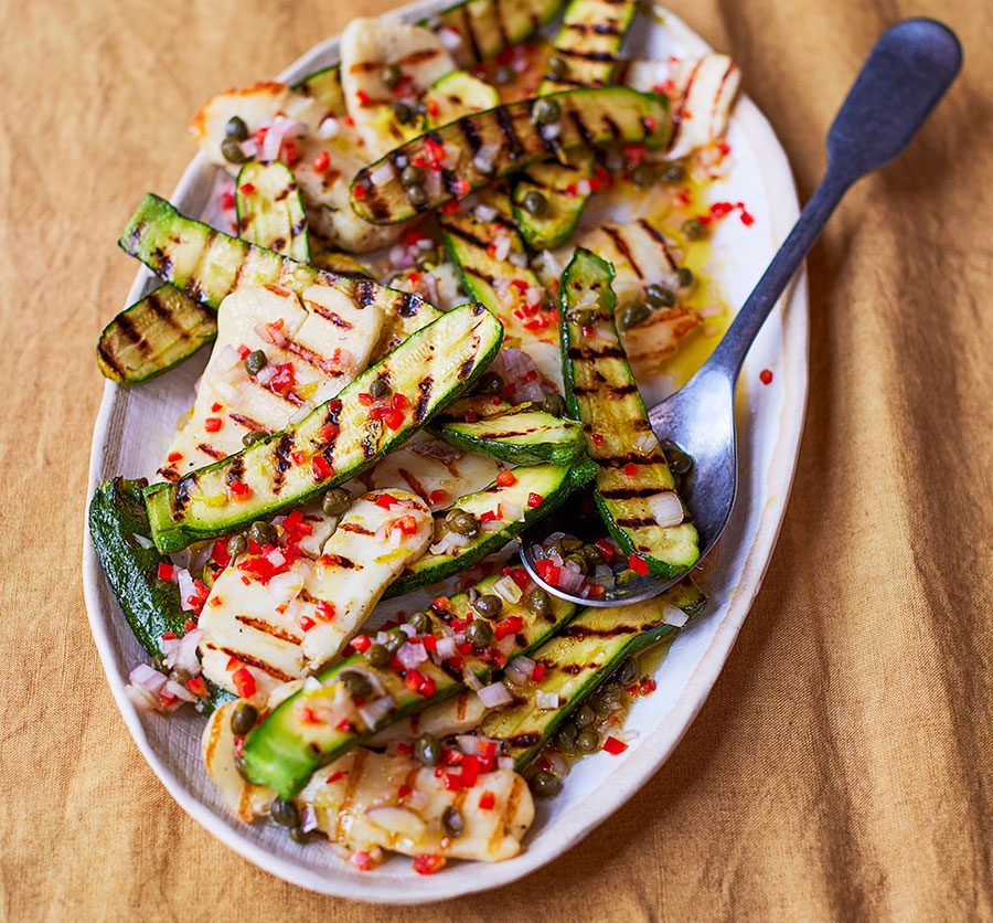 Grilled courgette & halloumi salad with caper & lemon dressing