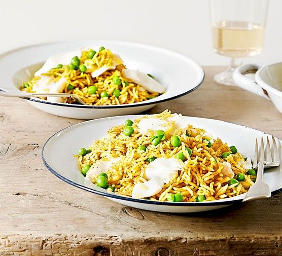 Keep-it-simple kedgeree served on two plates