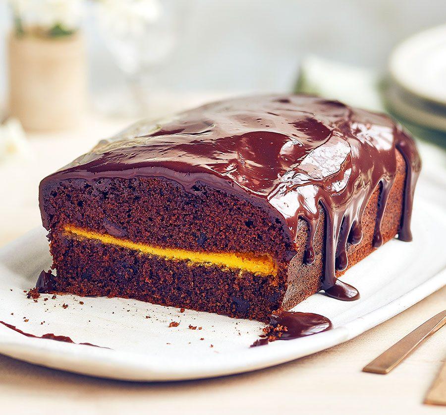Marzipan chocolate loaf cake