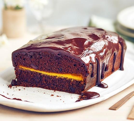 Marzipan chocolate loaf cake on a plate