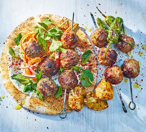 Lamb meatball kebab skewers with wraps
