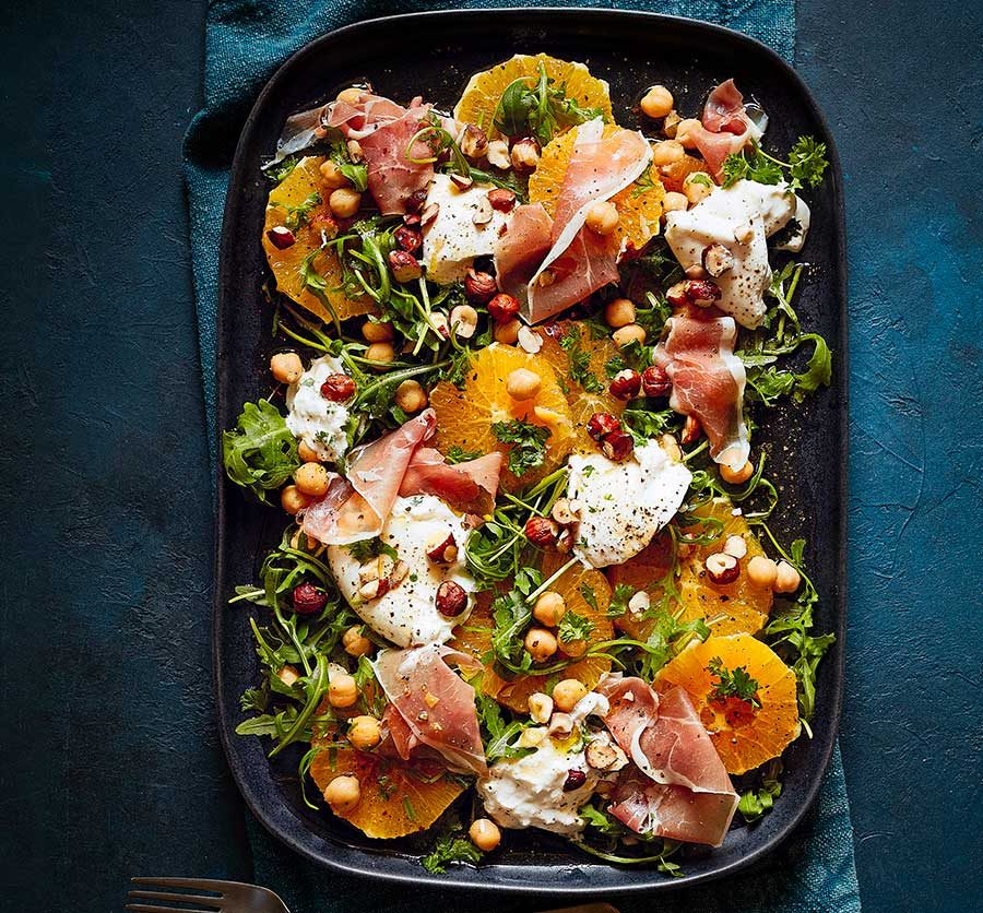 Orange, chickpea & prosciutto salad