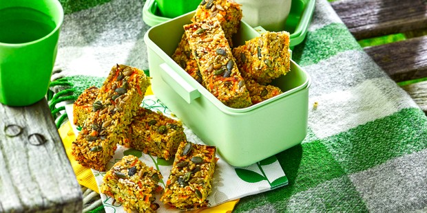 Green boxes filled with seeded flapjack bars