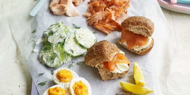 Spread of smoked salmon, cucumber, eggs and rye bread