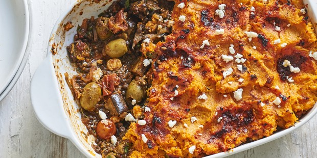 An aubergine pie with sweet potato topping