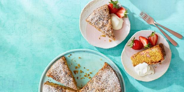 Strawberry & pistachio olive oil cake