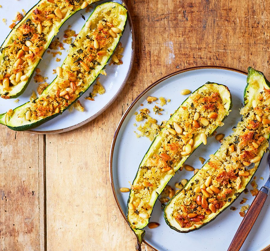 Stuffed baked courgettes with garlic & herb crumbs & pine nuts_image