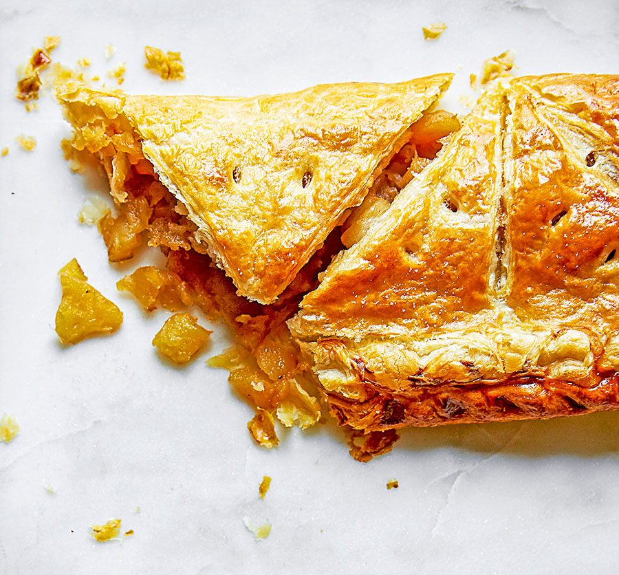 Toffee apple turnover puff pie