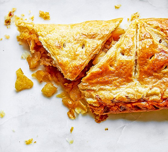 One toffee apple turnover puff pie