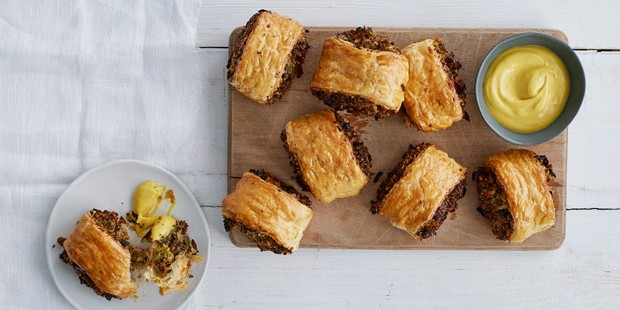 Vegetarian sausage rolls on a tray