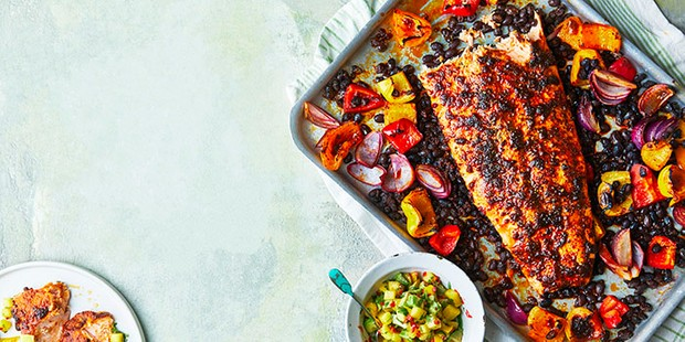 blackened roast salmon with avocado and mango salsa