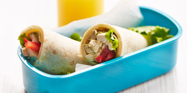 Chicken wraps in lunchbox