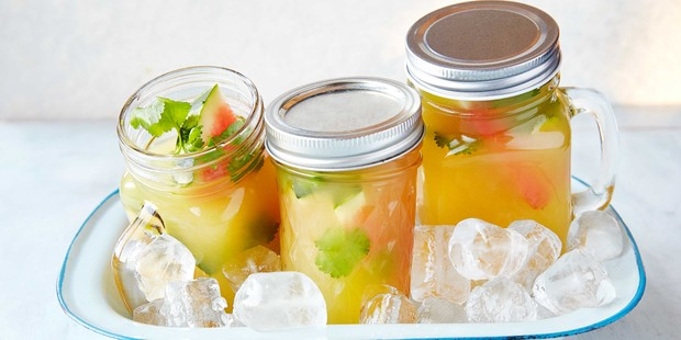 Pineapple cocktails in jars on ice