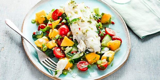 cod with cucumber avocado and mango salsa salad