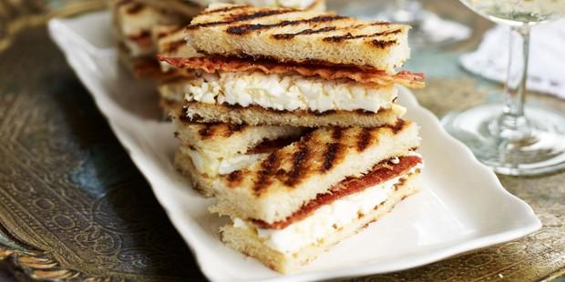 Brioche sandwiches on plate