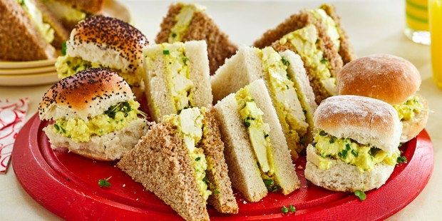 Egg-less mayo sandwiches on plate