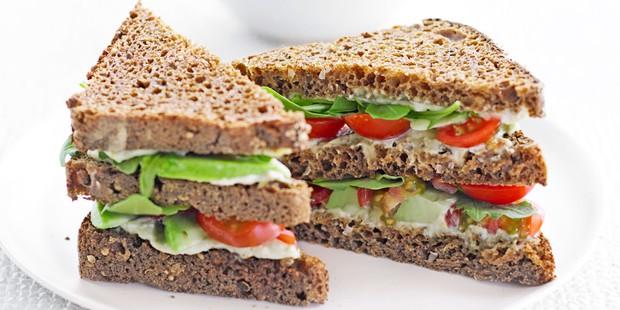 Green club sandwich cut into triangles