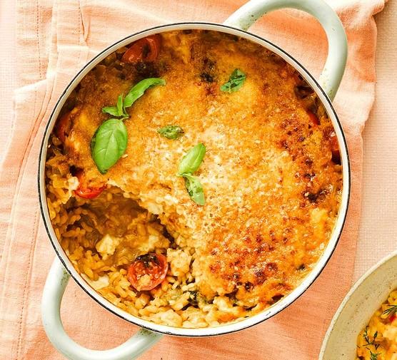 Baked tomato, mozzarella & basil risotto in a large casserole dish