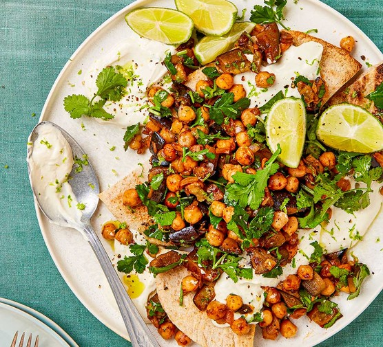 A serving of chipotle chickpeas with aubergine & pitta