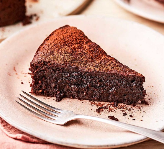 A single serving of flourless chocolate & almond cake