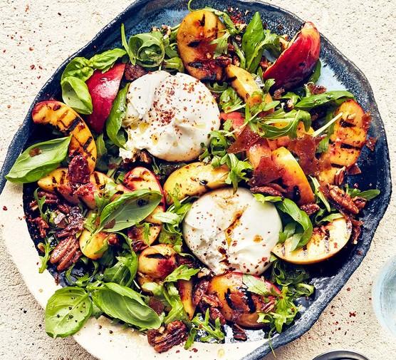 Grilled nectarine & burrata salad on a plate