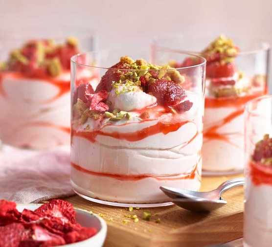 Quick cheat's strawberry mousse served in glasses