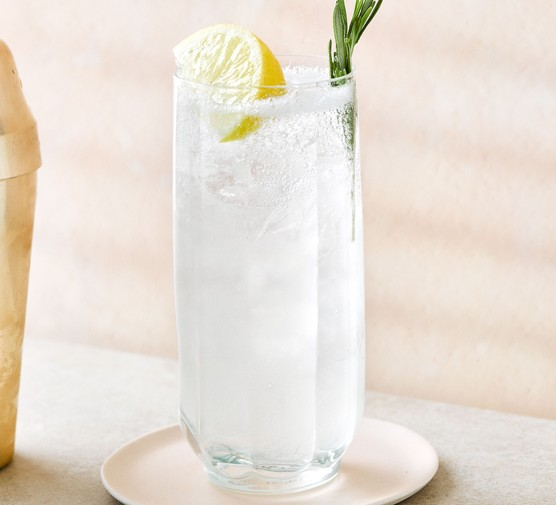Gin sling cocktail with lemon garnish