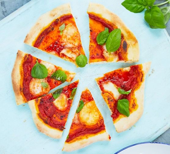 Pizza with homemade tomato sauce