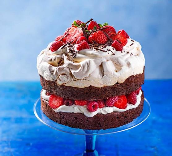 Berry brownie pavlova cake on a cake stand