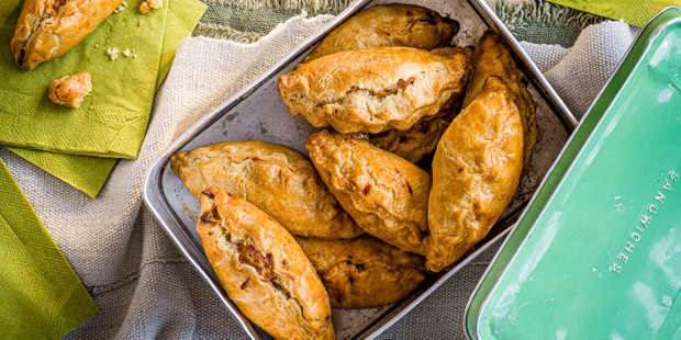 Cheese and onion pasties in a tin