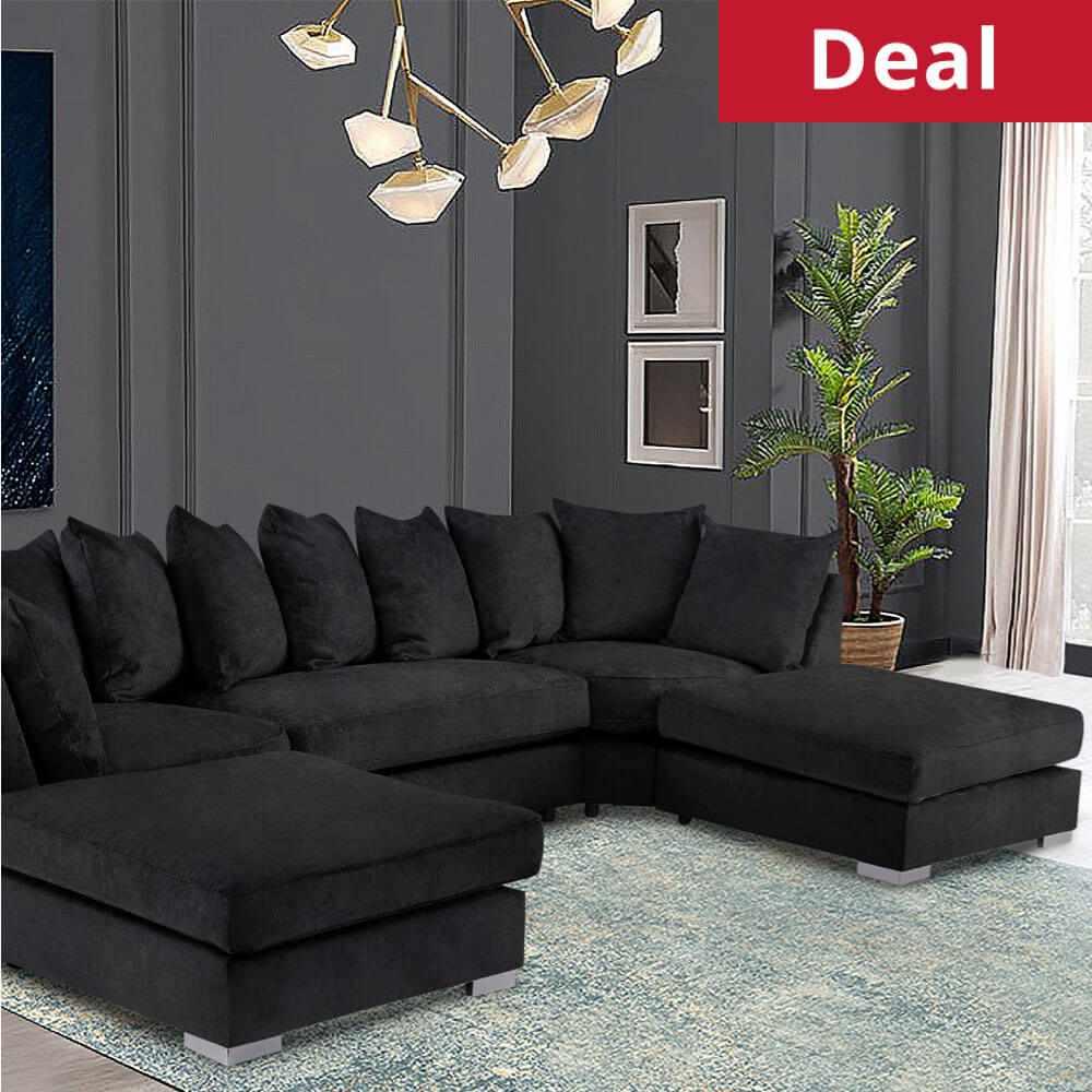Brixton Large Corner U Shape Sofa Chenille Fabric with 2 removable footstool