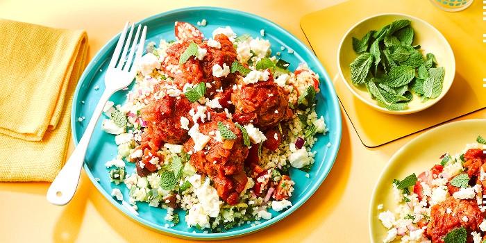 Grecian meatballs with feta & mint