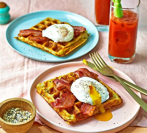 Leftover mashed potato waffles served with eggs and bacon