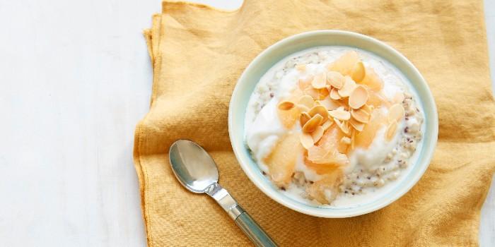 A bowl of porridge on an orange napkin